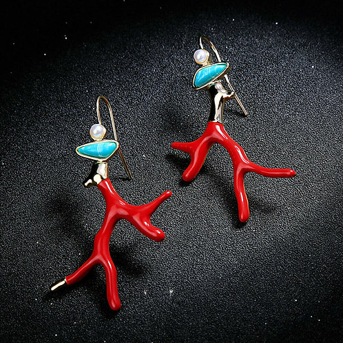 Red Coral Sealife Turquoise Pearl Earrings