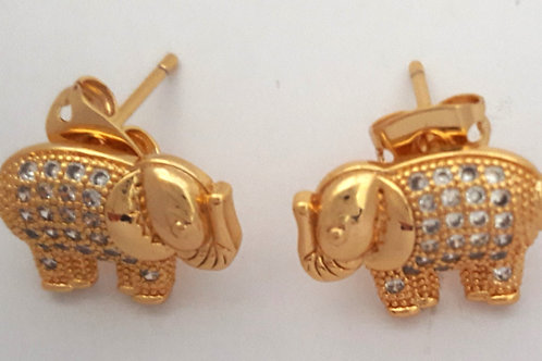 Cute Gold Plated Elephant CZ Stone Stud Earrings