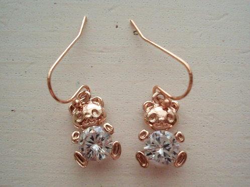 Rose Gold Plated CZ Stone Bear Pierced Earrings