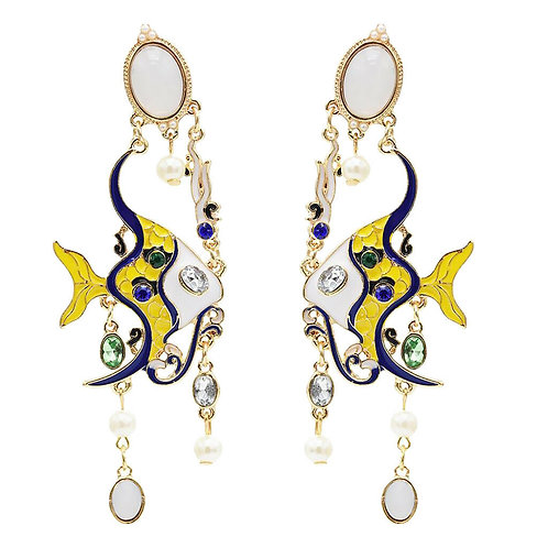 Stunning Marine Fish Pearl Yellow Blue Beaded Long Earrings