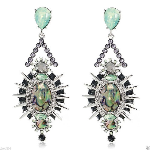 Long Punk Style Green Opal Spike Earrings