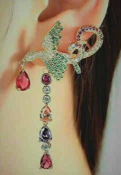 Luxury Semi Precious Stones Dangle Bird Earrings
