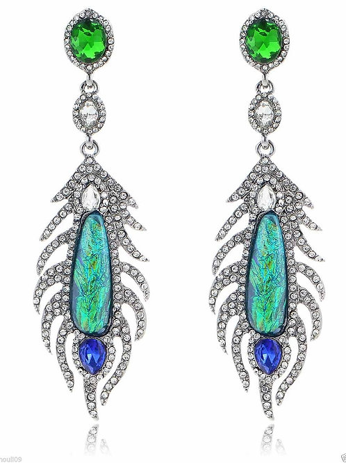 Green Blue Iridescent White Crystal Long Drop Earrrings