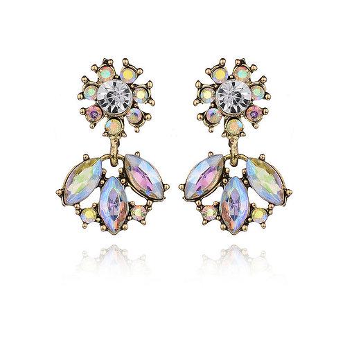 Iridescent Sparkly Flower Drop Stud Earrings
