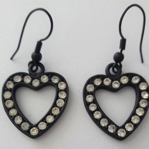 Charcoal Black Diamante Heart Shaped Hook Earrings