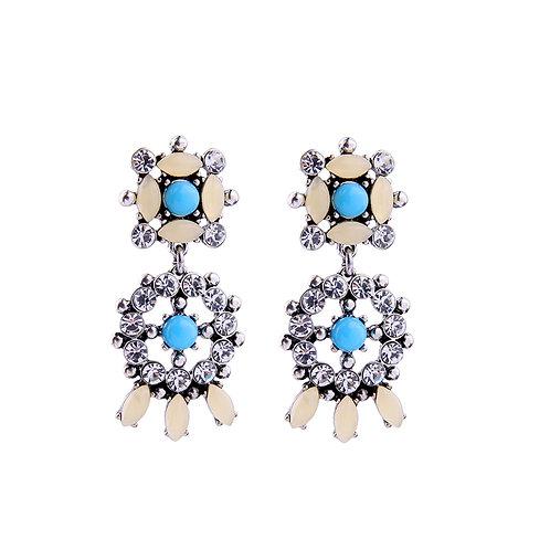 Turquoise Blue White Crystal Beige Stone Drop Pierced Earrings