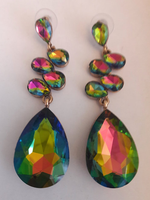 Iridescent Coloured Long Dazzling Pierced Earrings
