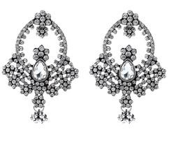 White Crystal Chandelier Earrings
