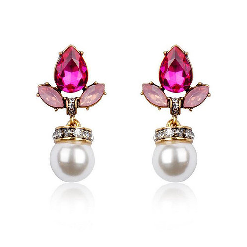 Pink Crystal Simulated Pearl Drop Pierced Earrings