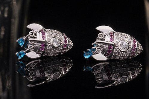 Cute Rocketman 925 Silver CZ Blue Sapphire Drop Earrings