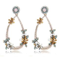 Delicate Flower Pearl Drop Earrings
