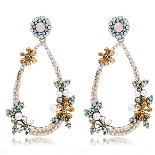 Delicate Flower Pearl Multi Beads Hoop Drop Earrings