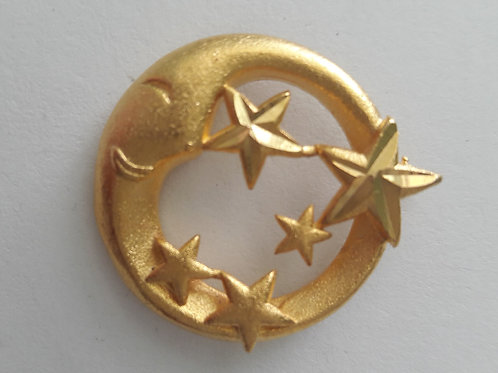 9ct Gold Plated Frosted Happy Moon Stars Pendant