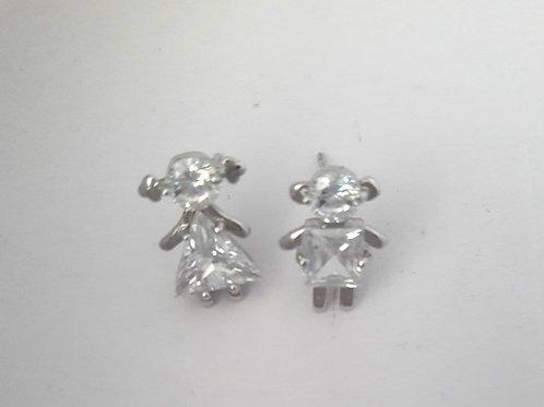 Cute Rhodium Girl Boy White Crystal Stud Earrings