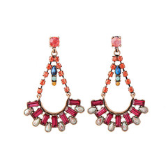 Exquisite Cradle Drop Multi Stone Dangle Earrings
