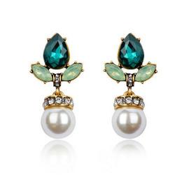 Green Pearl Drop Earrings