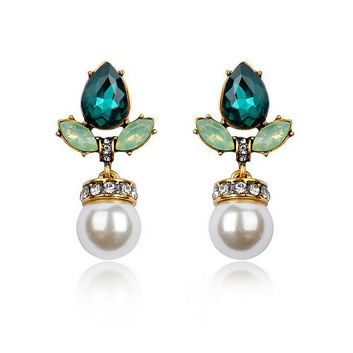Green Crystal Simulated Pearl Drop Pierced Earrings
