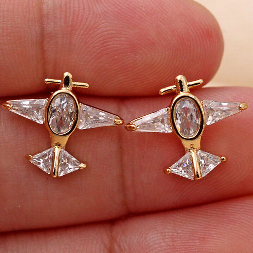 Aeroplane 9ct Gold Plated White Crystal Stud Earrings