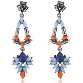 Blue Orange Chandelier Earrings