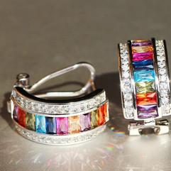Multi Colour Crystal Hoop Earrings