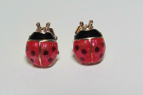 Rose Gold Ladybird Mariquita Glazed Enamel Stud Earrings