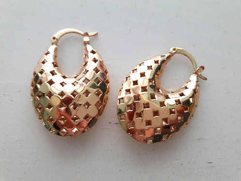 Perforated 9ct Gold Plated Loop Drop Earrings