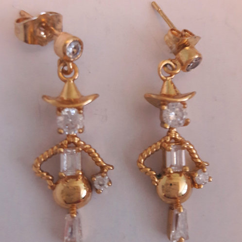 9ct Gold Plated Scarecrow Mannequin CZ Drop Pierced Earrings