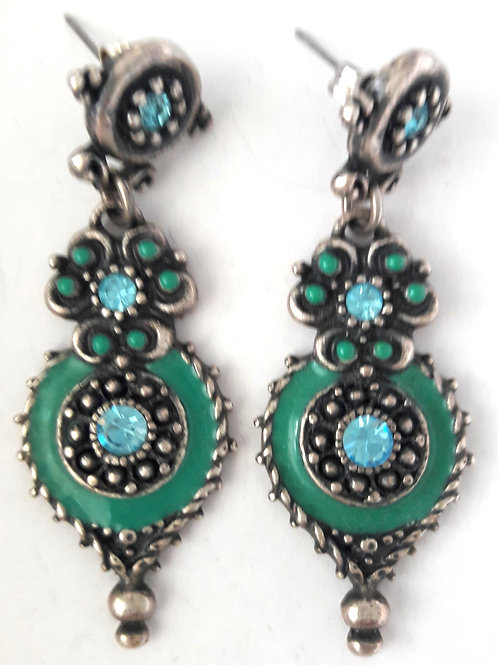 Jade Green Enamel Turkish Drop Earrings