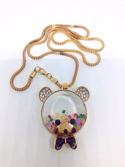 Teddy Bear Happy Multi Crystal Stones Pendant Necklace