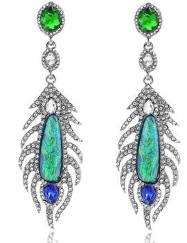 Green Iridescent Drop Earrings