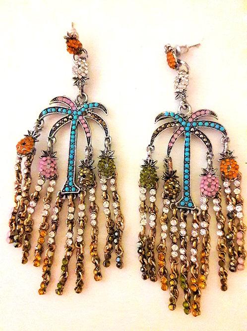 Palm Tree Tropics Multi Seed Bead Fringe Drop Earrings