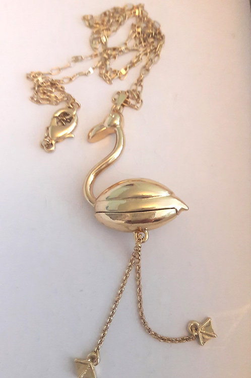 Stunning Gold Plated Flamingo Moveable Feet Complete Nekclace