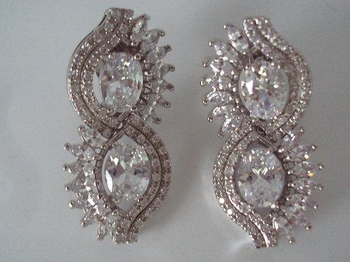 Stunning Rhodium Double Tier Eyelash Drop Swarovski Crystal Earrings