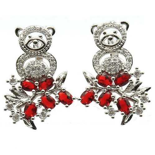 Adorable Bear Red Semi Precious Stones 925 Silver Earrings