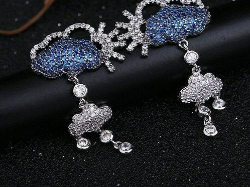 Blue White Swarovski Crystal Raincloud Stud Drop Earrings