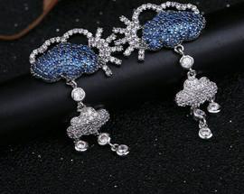 Blue Swarovski Crystal Raincloud Earrings
