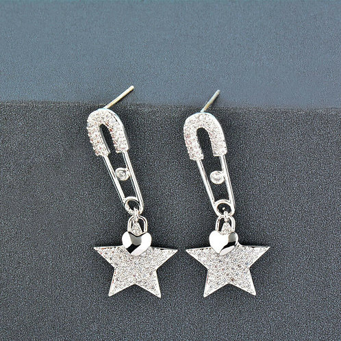 Rhodium Safety Pin Star Drop Pierced Earrings