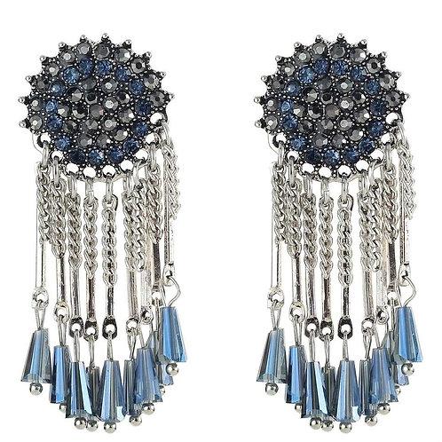 Blue Crystal Tassel Chain Drop Pierced  Earrings