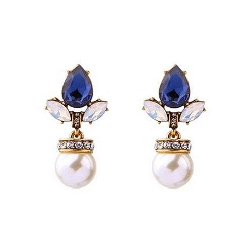 Blue Crystal Simulated Pearl Drop Pierced Earrings