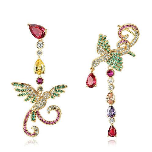 Luxury Multi Semi Precious Stones Drop Dangle Bird Earrings