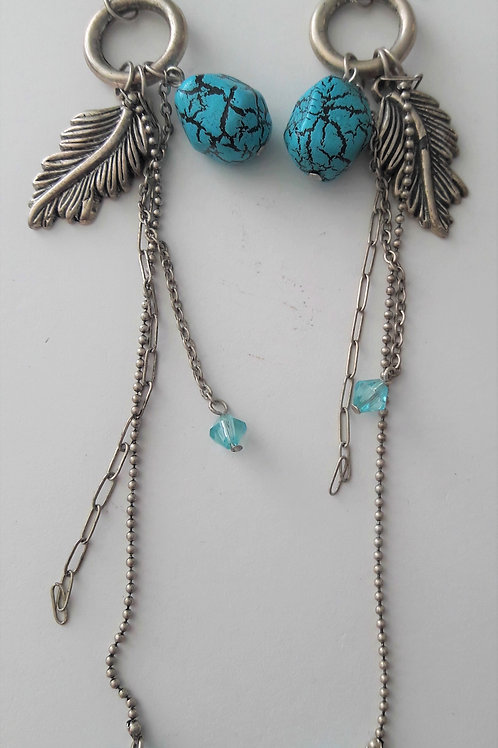 Long Chain Turquoise Egg Feather Drop Handmade Earrings
