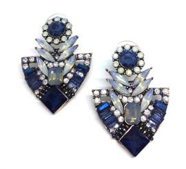 Blue Flower Crystal Earrings