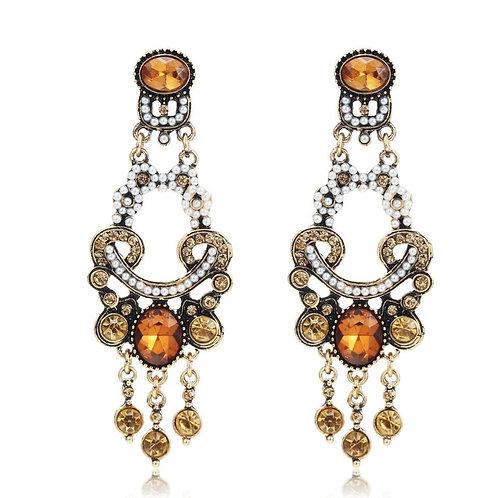 Long Ottoman Style Amber Pearl Crystal Drop Earrrings