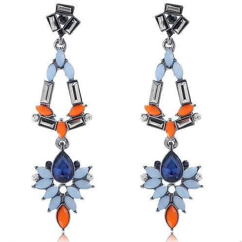 Charming Blue Orange Long Chandelier Style Earrings