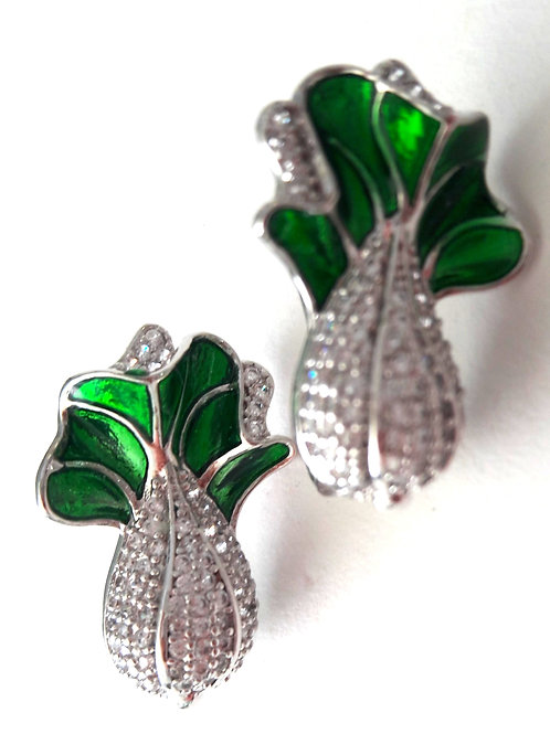 Pak Choi Cabbage Enamel CZ Rhodium Pierced Earrings