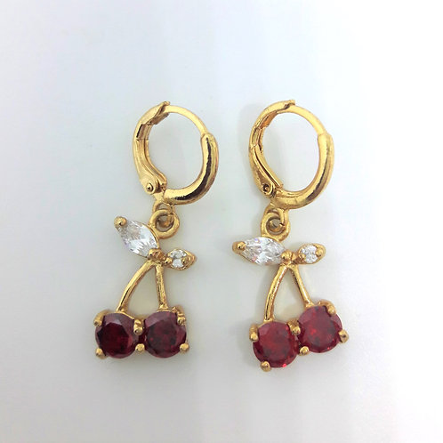 9ct Gold Plated Red Cherry Pierced Drop Earrings