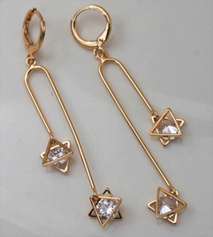 9ct Gold Plated Judaica Israeli Earrings