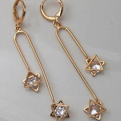 9ct Gold Plated Judaica Israeli Star Crystal Drop Earrings