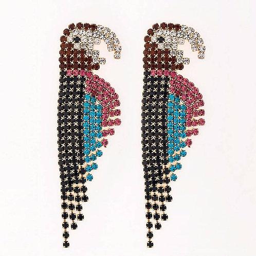 Multi Colour Diamante Parott Glam Drop Earrings