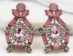 Pink Crystal Birdcage Earrings